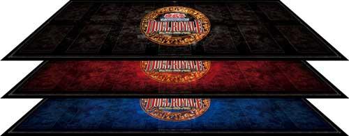「デュエルロワイヤル」ロゴデザインの各デッキ専用の特製デュエルフィールド×3種